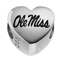 Fiora Sterling Silver Ole Miss Rebels Logo Heart Bead