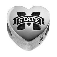 Fiora Sterling Silver Mississippi State Bulldogs Logo Heart Bead