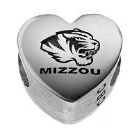 Fiora Sterling Silver Missouri Tigers Logo Heart Bead