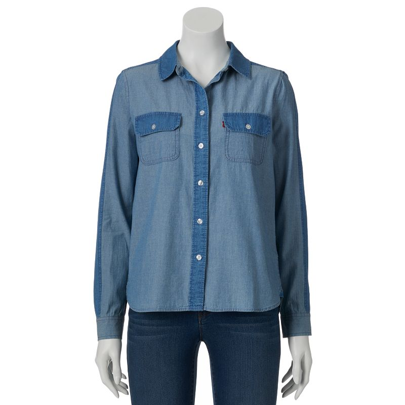 Levi 39 s chambray shirt women 39 s size for Chambray shirt women