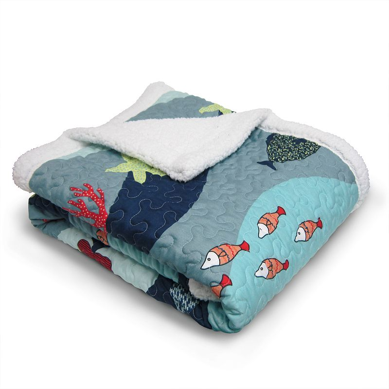 Lush Decor Sea Life Quilted Sherpa Throw
