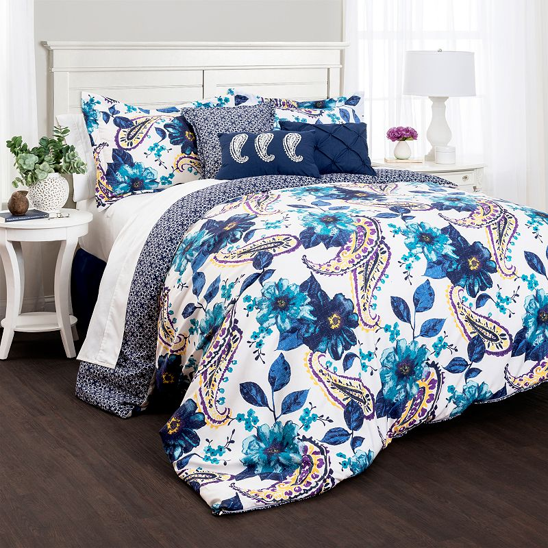 Lush Decor Floral Paisley Blue 7-pc. Reversible Comforter Set