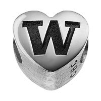 Fiora Sterling Silver Washington Huskies Logo Heart Bead