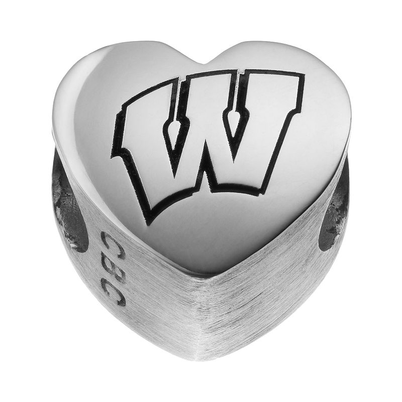 Fiora Sterling Silver Wisconsin Badgers Logo Heart Bead