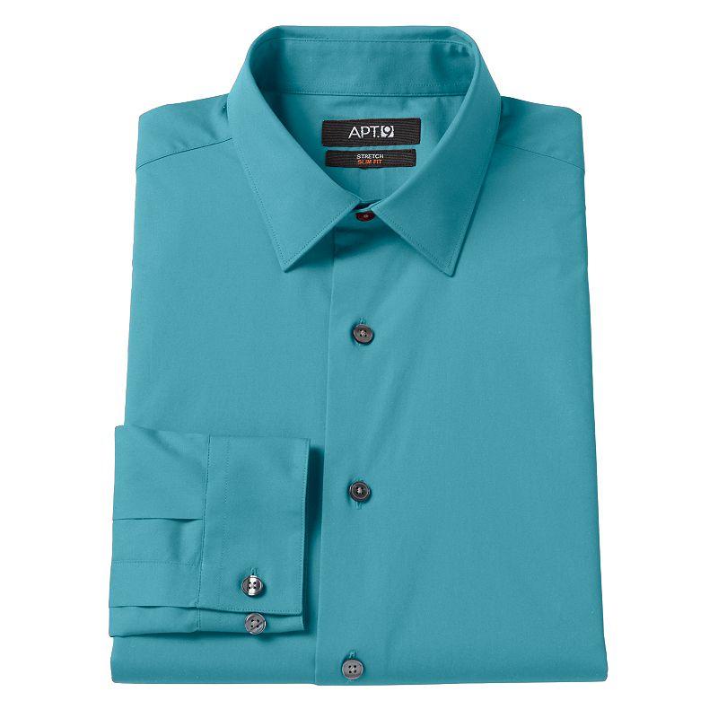 Apt 9 slim fit stretch spread collar dress shirt men size for Apartment 9 dress shirts