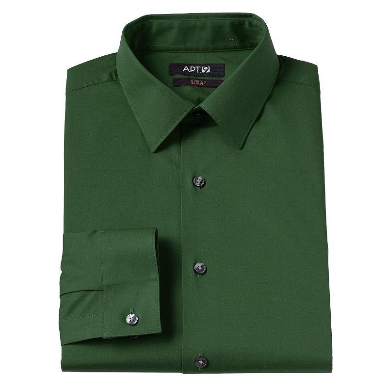 Men 39 s apt 9 slim fit trident stretch spread collar dress for Apartment 9 dress shirts