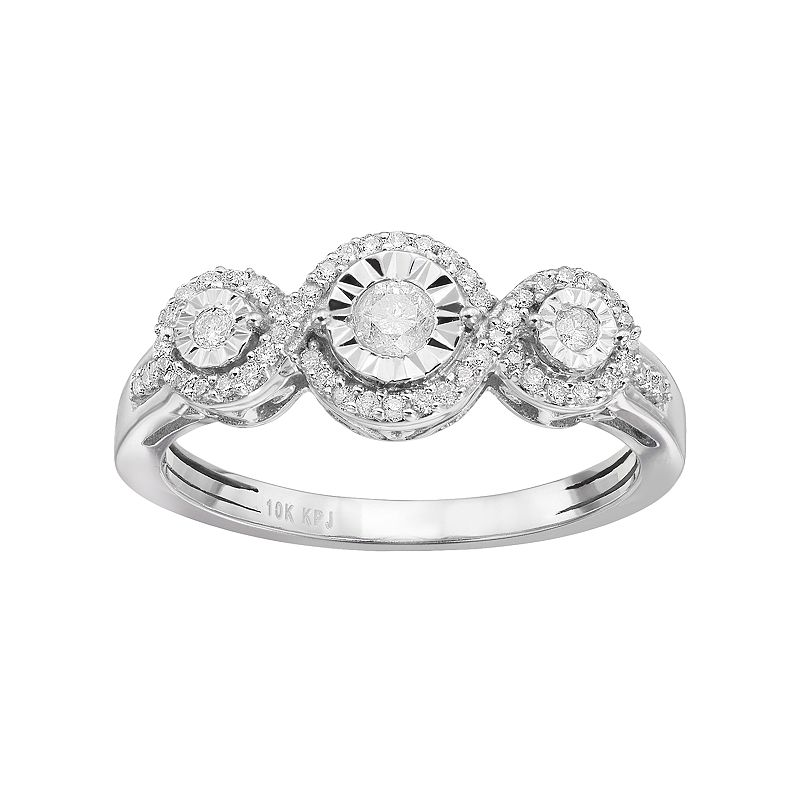 1/3 Carat T.W. Diamond 10k White Gold 3-Stone Halo Ring