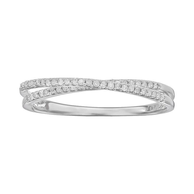 1/8 Carat T.W. Diamond 10k White Gold Twist Ring