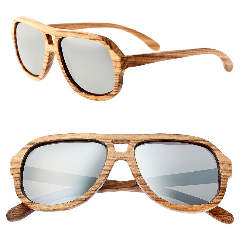 Earth Wood Wooden Aviator Unisex Sunglasses