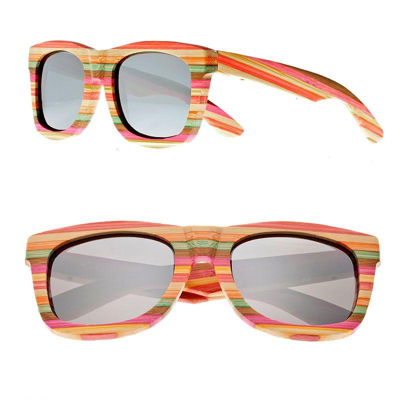 Earth Wood Striped Retro Square Unisex Sunglasses