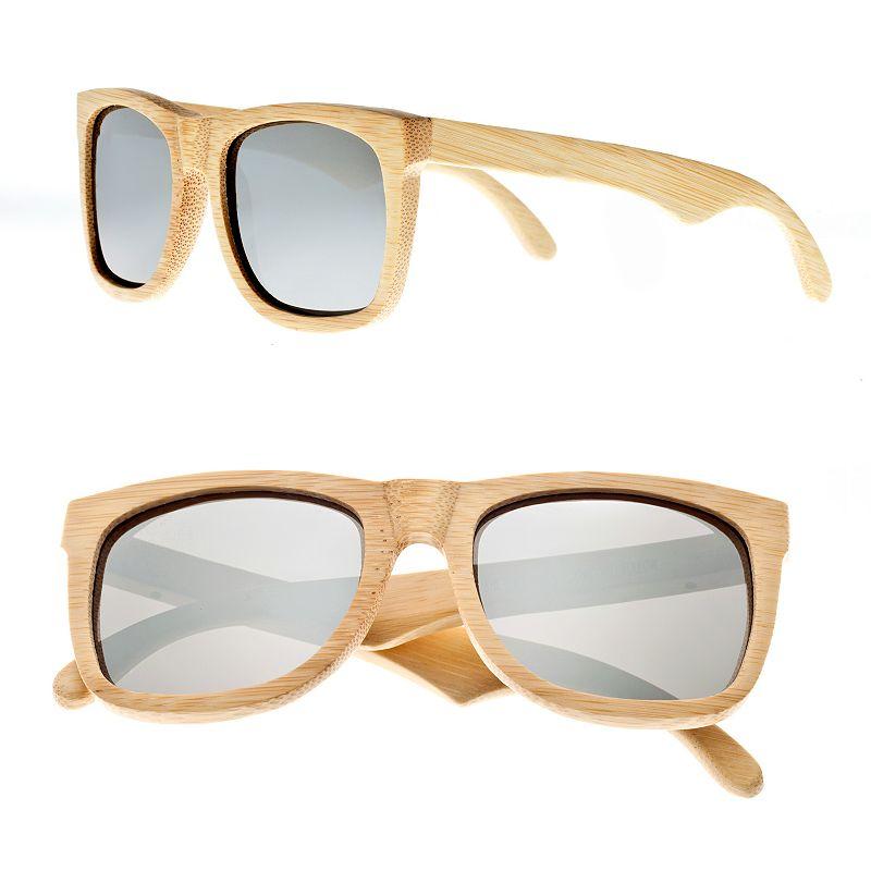 Earth Wood Mirrored Retro Square Unisex Sunglasses