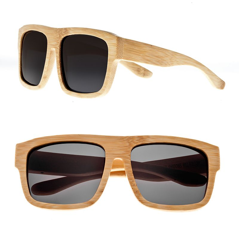 Earth Wood Retro Square Wood Frame Unisex Sunglasses