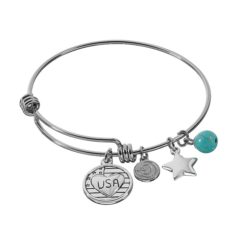 love this life Simulated Turquoise Stainless Steel & Silver-Plated