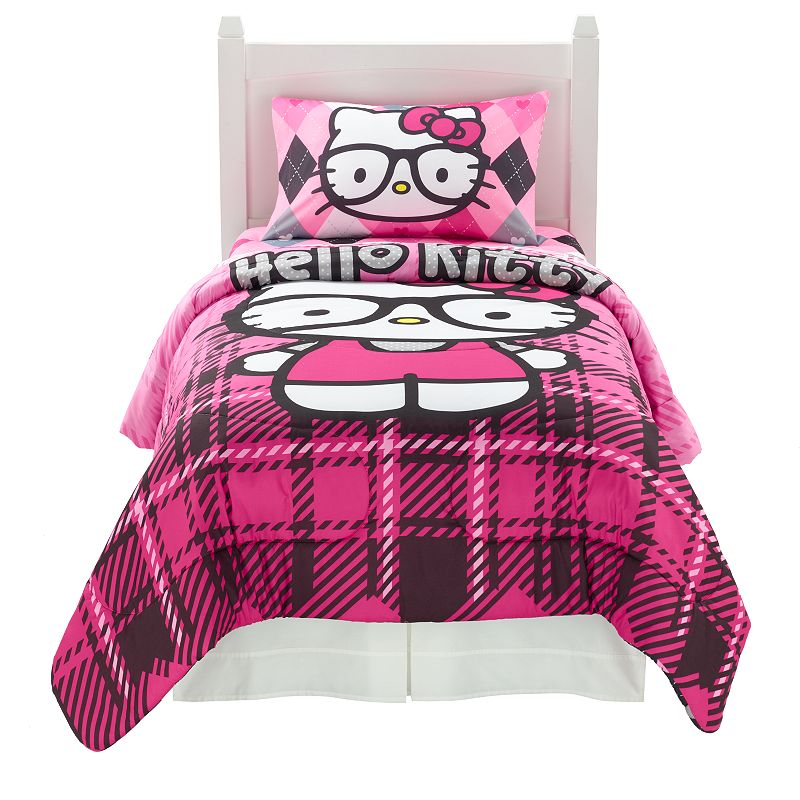Sanrio Hello Kitty I Heart Nerd Bed Set, Pink