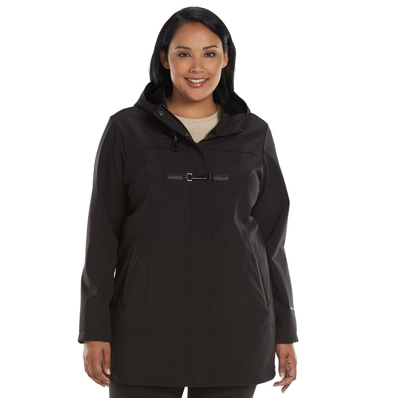 Plus Size Free Country Toggle Hooded Soft Shell Jacket
