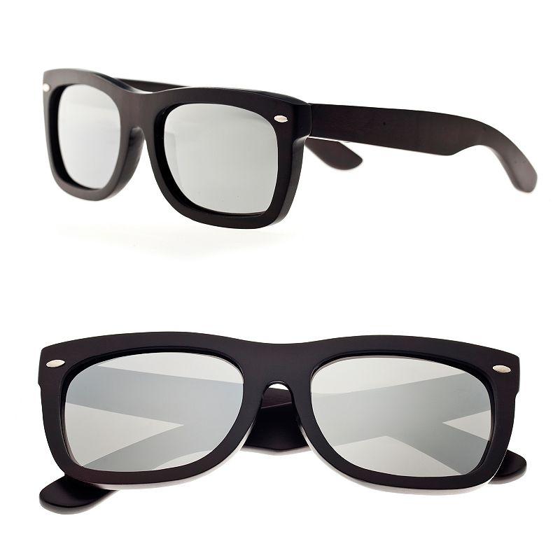 Earth Wood Mirrored Retro Wood Frame Square Unisex Sunglasses