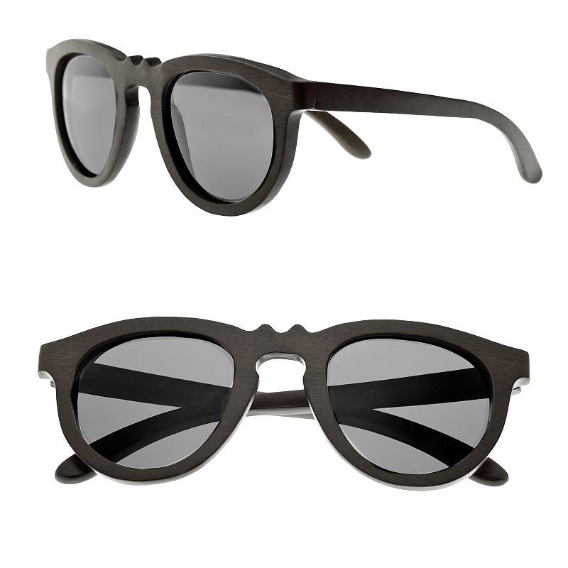 Earth Wood 43mm Round Unisex Sunglasses