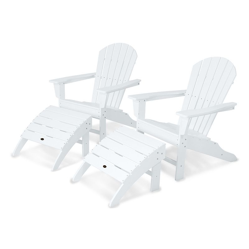 POLYWOOD® 4-piece South Beach Outdoor Adirondack Chair & Ottoman Set