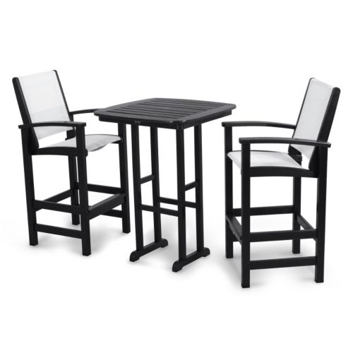 Polywood 174 3 Piece Coastal Outdoor Bar Chair Amp Table Set