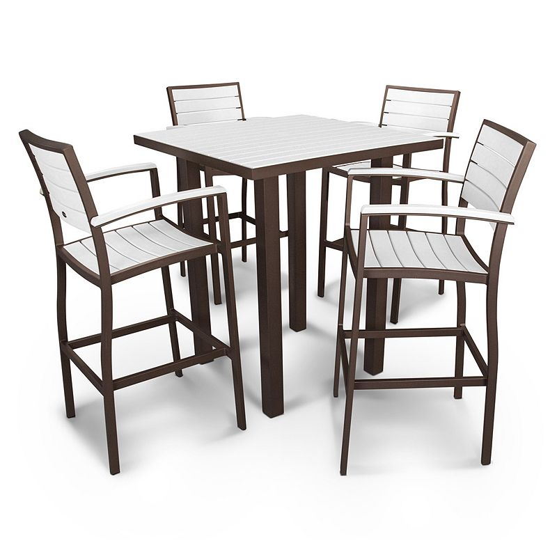 POLYWOOD® Euro 5-piece Outdoor Bar Table Set