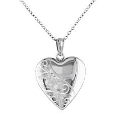 Sterling Silver Filigree Heart Locket Necklace by
