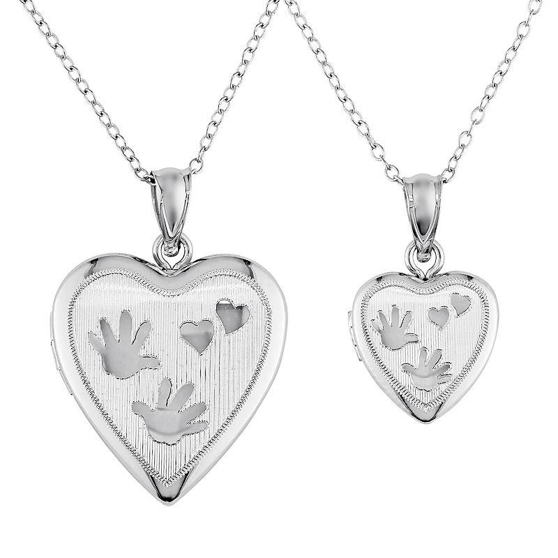 Sterling Silver Handprint Heart Locket Necklace Set