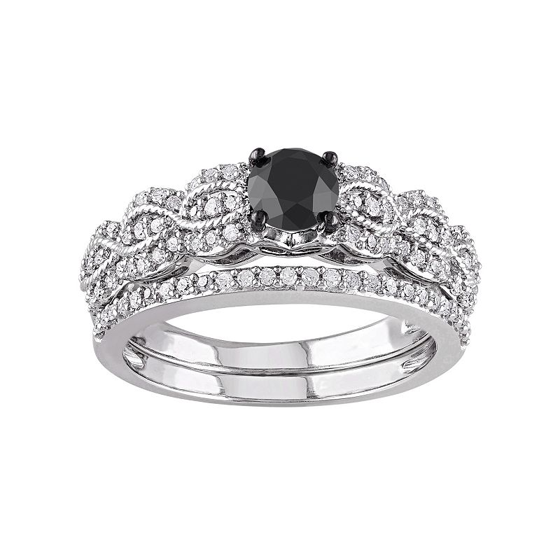 Black & White Diamond Scalloped Engagement Ring Set in Sterling Silver (1 Carat T.W.)