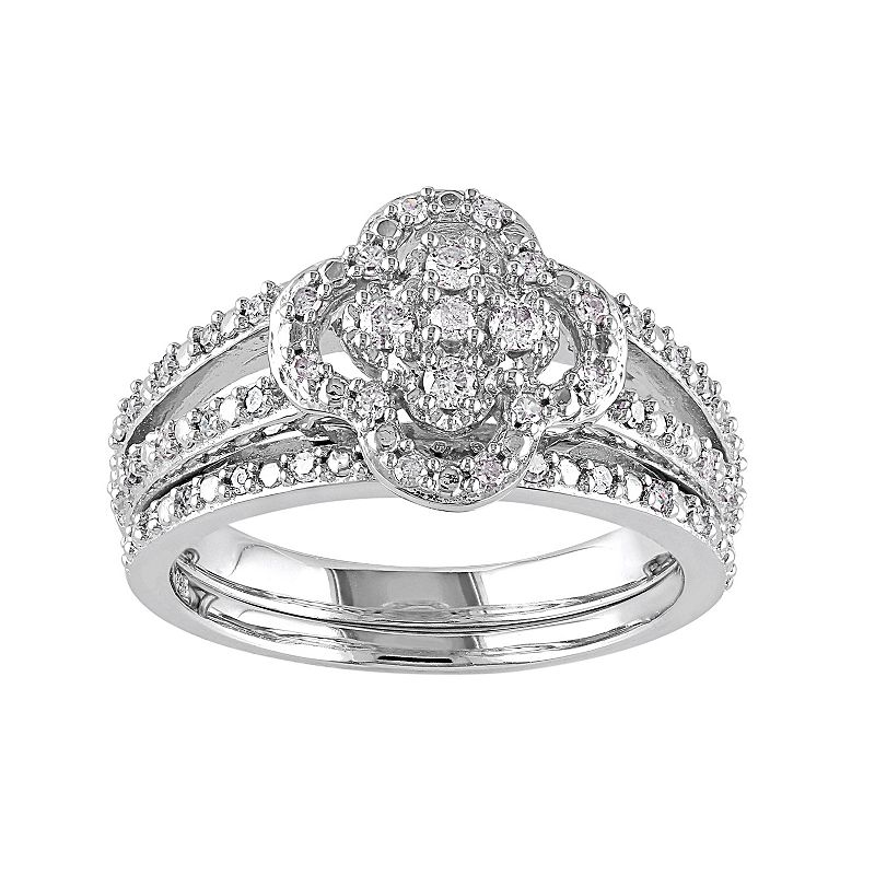 Diamond Flower Engagement Ring Set in Sterling Silver (1/3 Carat T.W.)