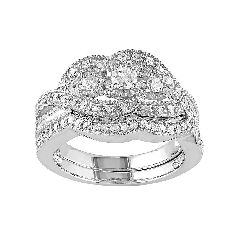 Diamond 3-Stone Engagement Ring Set in Sterling Silver (1/2 Carat T.W.)