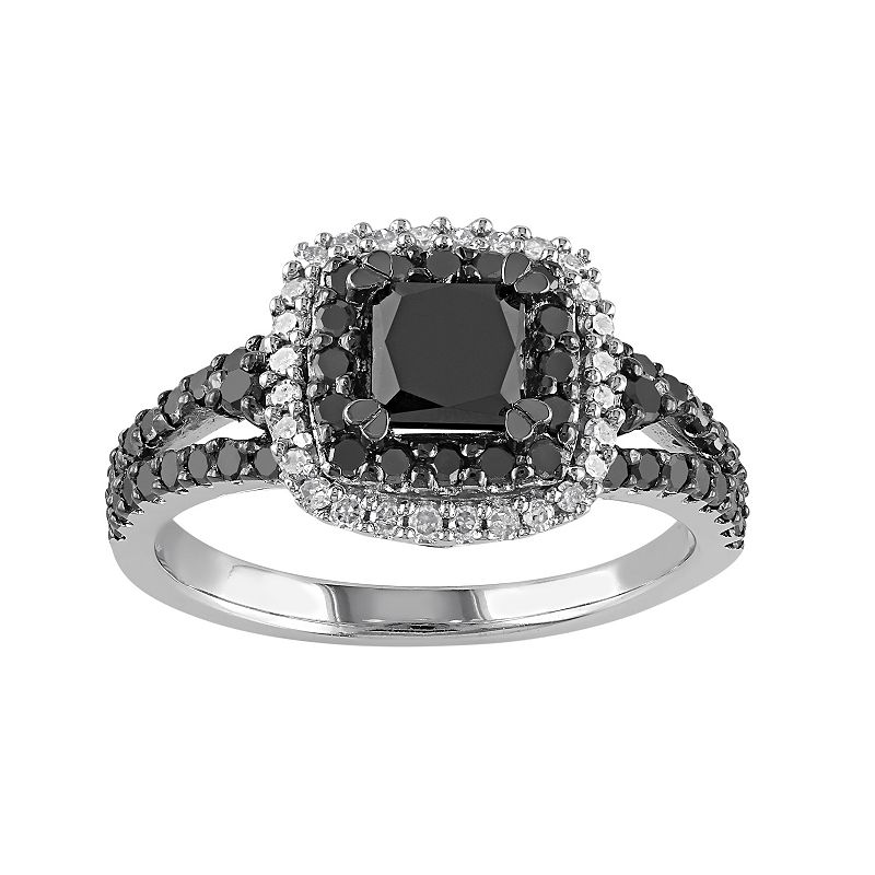 1 1/2 Carat T.W. Black & White Diamond Sterling Silver Halo Ring