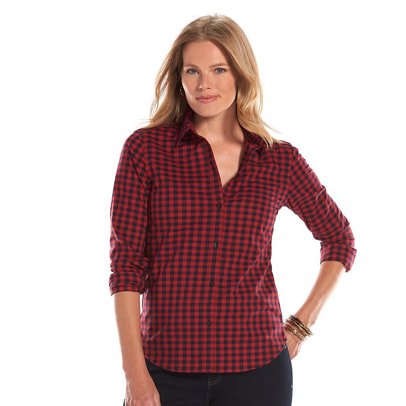 Womens red cotton shirt kohl 39 s for Chaps shirts on sale