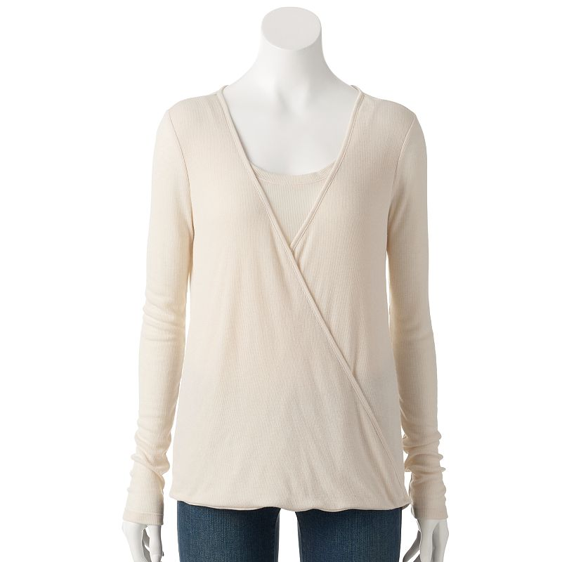 Women's SONOMA Goods for Life™ Ribbed Faux-Wrap Top