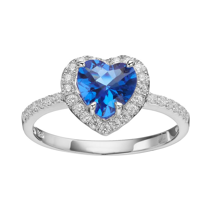 Rebecca Sloane Blue Obsidian & Cubic Zirconia Platinum Over Silver Heart Halo Ring
