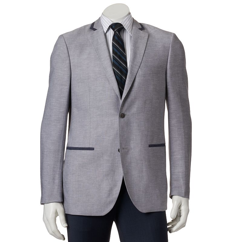 Men's Savile Row Modern-Fit Gray Linen-Blend Tipped Sport Coat