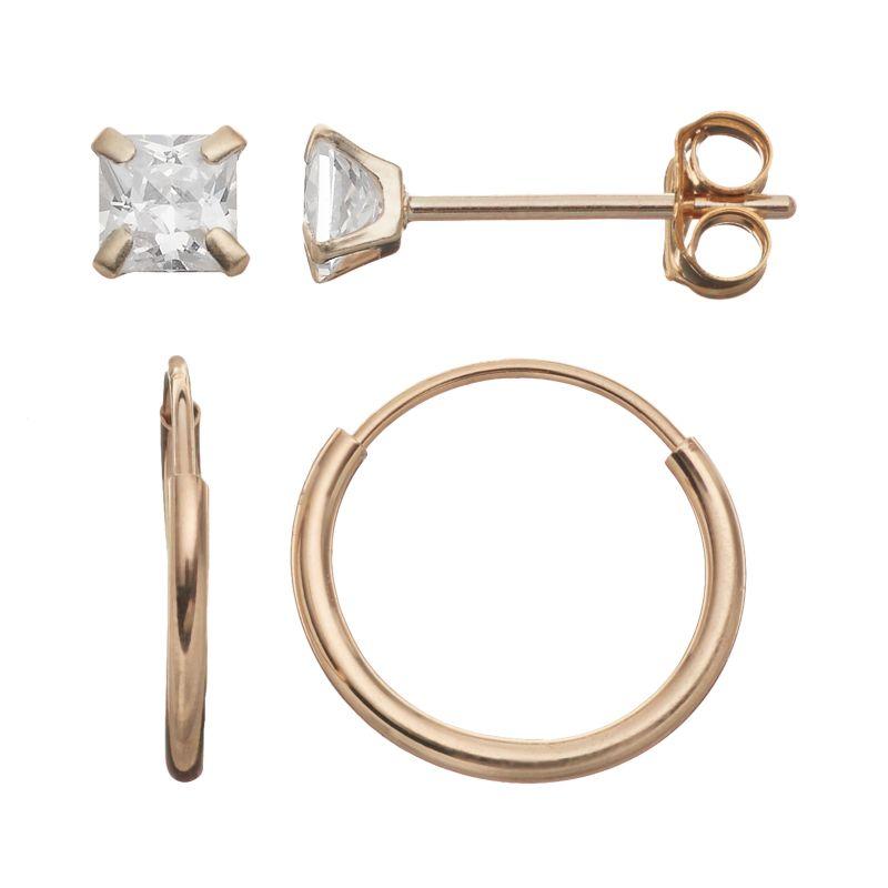 Hoop Earrings With Studs Stud Hoop Earring Set