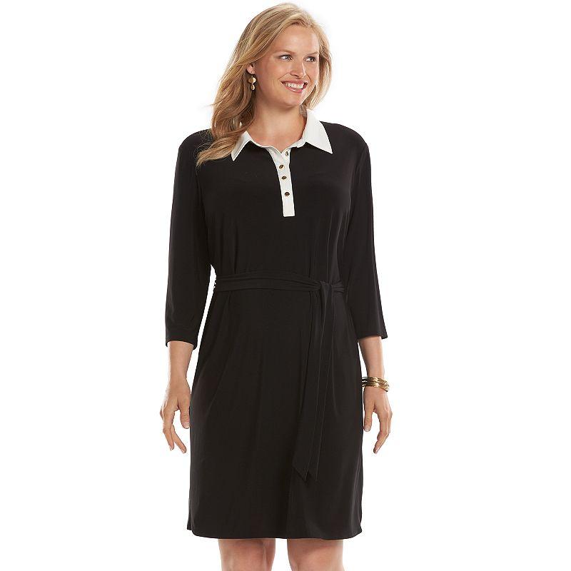 Plus Size Chaps Solid Shirtdress