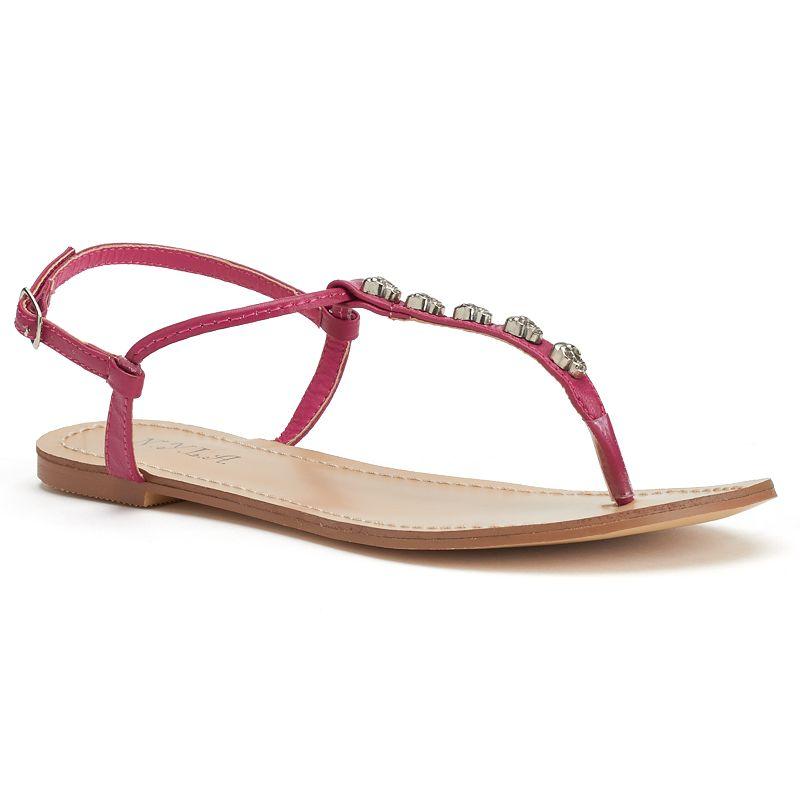NYLA Genine Women's Skull T-Strap Thong Sandals