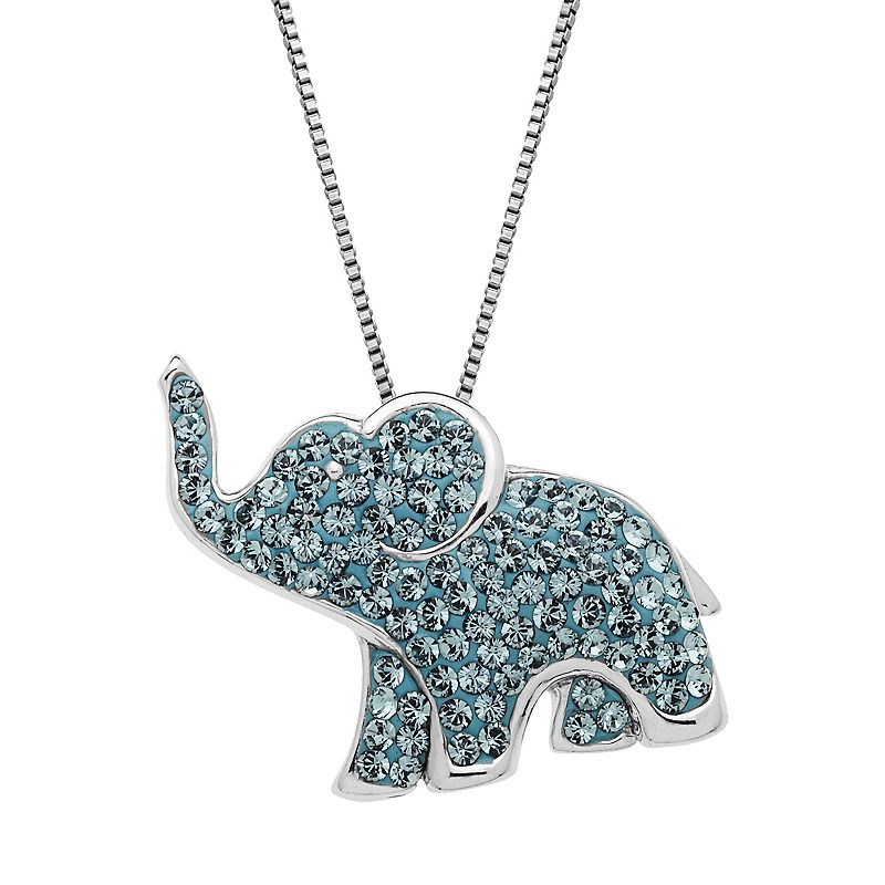 Artistique Crystal Sterling Silver Elephant Pendant Necklace - Made with Swarovski Crystals