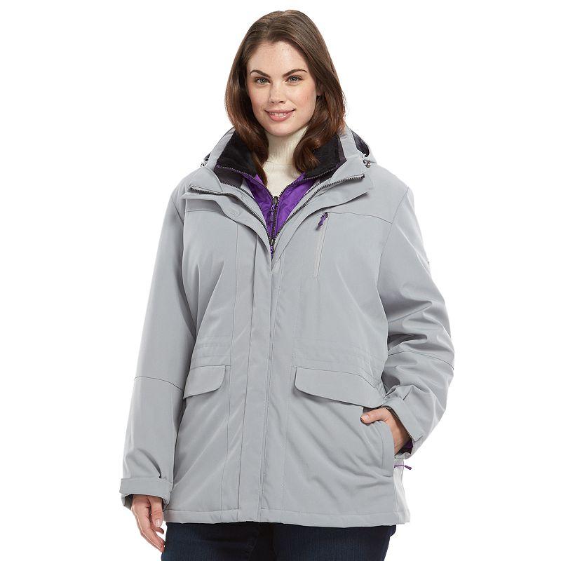 Plus Size ZeroXposur Destiny Hooded 4-Way Stretch 3-in-1 Systems Jacket