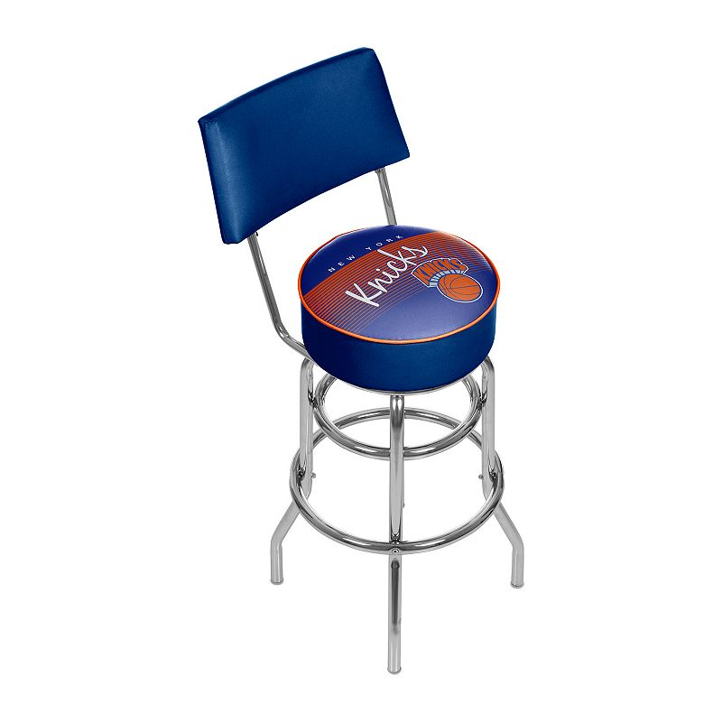 New York Knicks Hardwood Classics Padded Swivel Bar Stool with Back