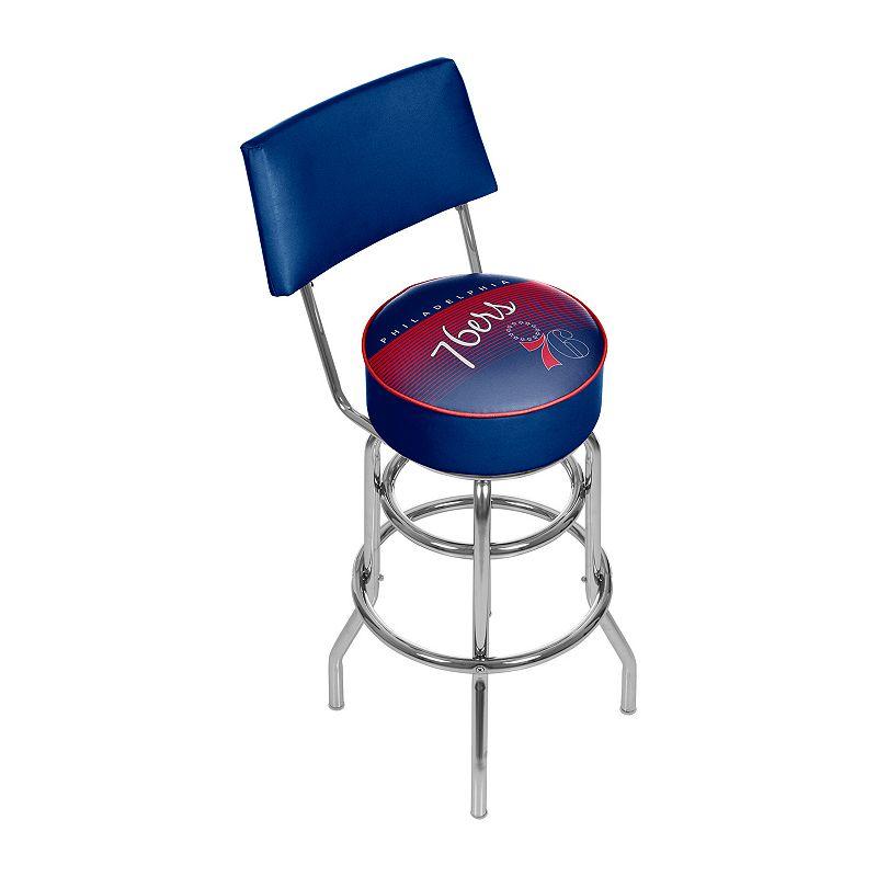 Philadelphia 76ers Hardwood Classics Padded Swivel Bar Stool with Back