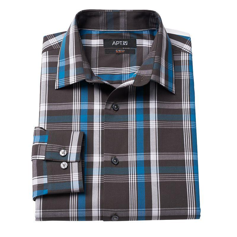Men's Apt. 9® Hartland Slim-Fit Plaid Stretch Spread-Collar Dress Shirt