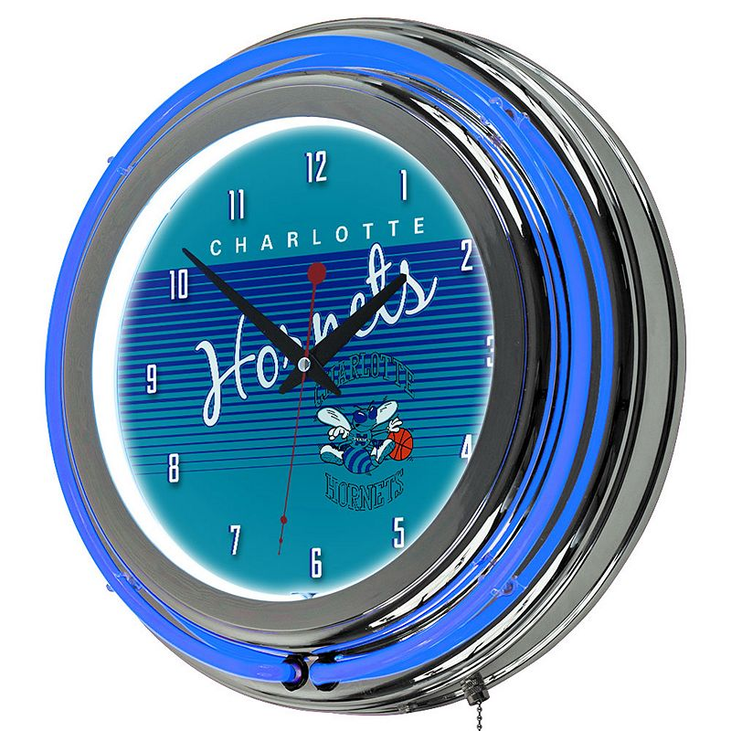 Charlotte Hornets Hardwood Classics Chrome Double-Ring Neon Wall Clock