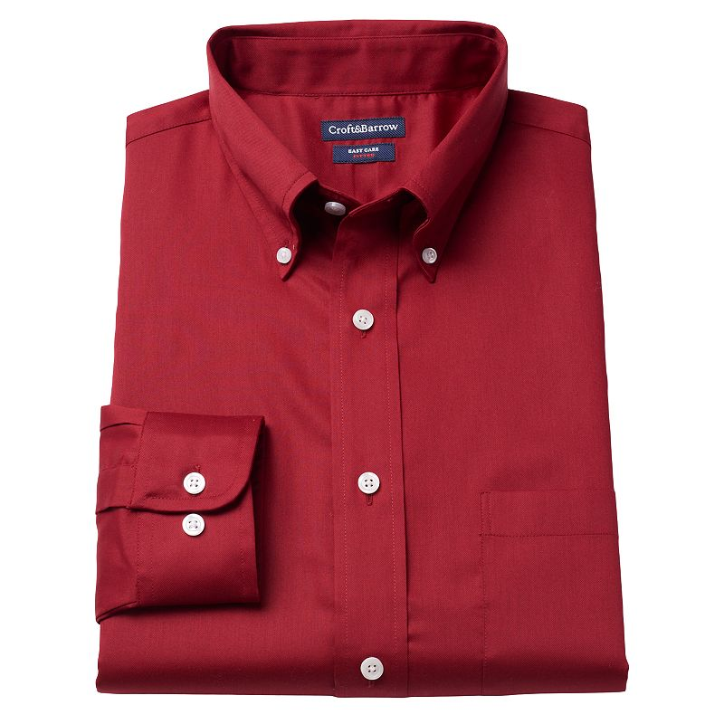 Men's Croft & Barrow® Fitted Solid Easy-Care Twill Button-Down Collar Dress Shirt