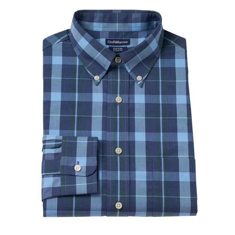 Men's Croft & Barrow Fitted Plaid Wrinkle-Resistant Fitted Button-Down Shirt