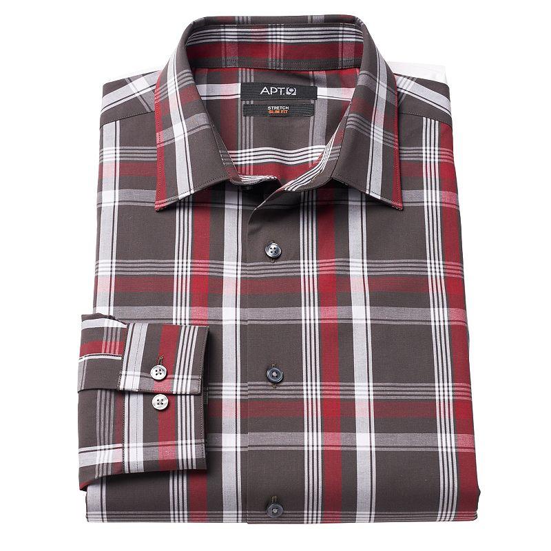 Men's Apt. 9® Hartland Modern-Fit Plaid Stretch Spread-Collar Dress Shirt