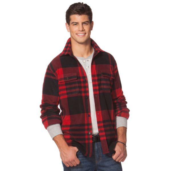 Men's Chaps Classic-Fit Plaid Microfleece Shirt Jacket