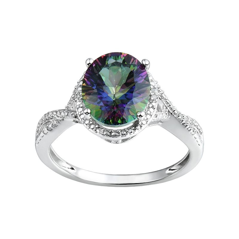 Lab-Created Mystic Fire Topaz Sterling Silver Halo Ring