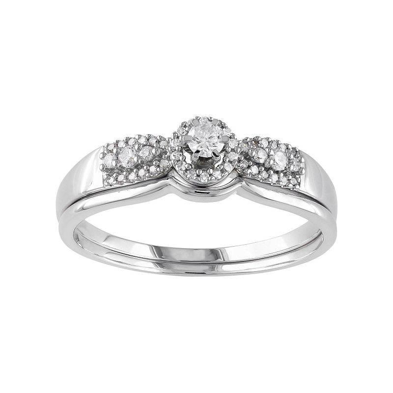 Diamond Halo Engagement Ring Set in 10k White Gold (1/3 Carat T.W.)