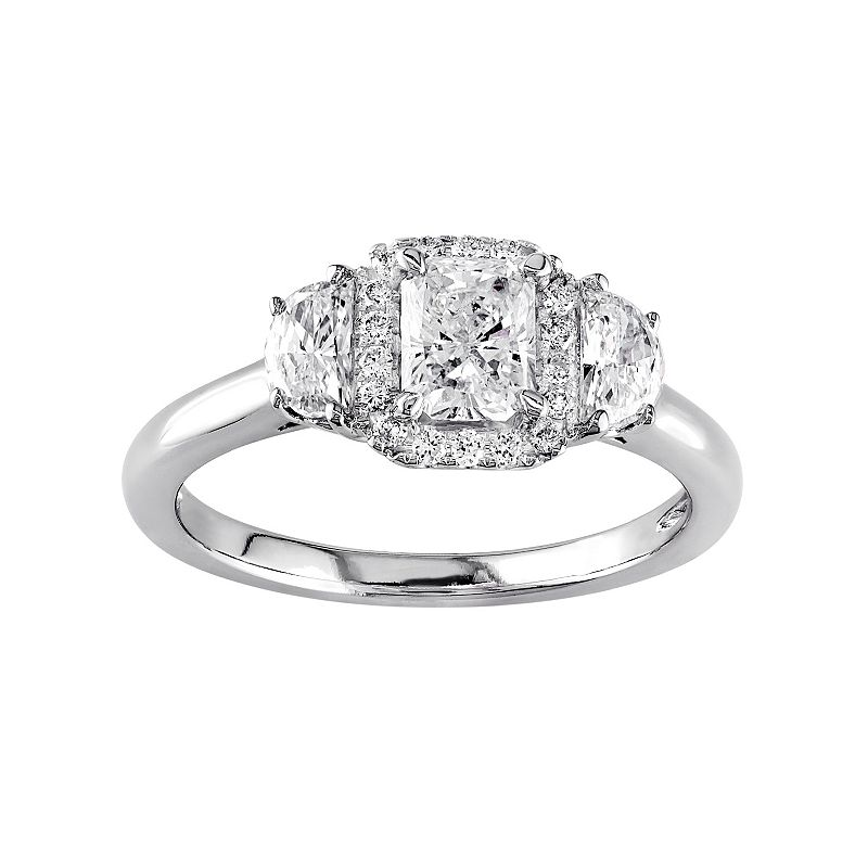 Diamond Halo Engagement Ring in 14k White Gold (1 Carat T.W.)